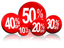 Different percentages in red circles Stock Photo