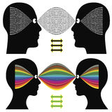 Different perception. Creativity versus logic. Differences in cognition between man and woman Stock Photo