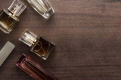 Different perfume bottles on the table Stock Photo