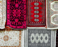 Different persian carpets. Hanging from a wall Royalty Free Stock Image
