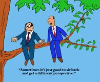 Different Perspective. Business cartoon of two businessmen sitting on a tree branch, 'Sometimes it's just good to sit back and get a different perspective Royalty Free Stock Image