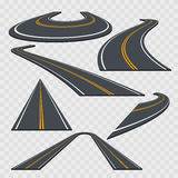 Different Perspective Curved Road Set. Vector Stock Image