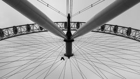 Different perspective of the London Eye in Black and White. A black and white pictures of the world famous wheel in London. View from a different perspective stock images