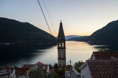 Different Perspective on Perast from a Hill behind the Church. With view onto Bay of Kotor, Montenegro Stock Images