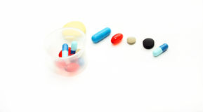Different pharmacological preparations - tablets and pills Stock Photo