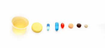 Different pharmacological preparations - tablets and pills. On a white background Royalty Free Stock Image