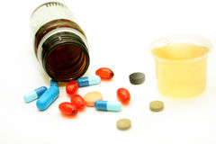 Different pharmacological preparations - tablets and pills. On a white background Royalty Free Stock Photos