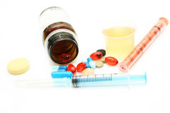Different pharmacological preparations - tablets, syringes, syru. P and pills on a white background Stock Image