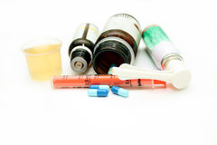 Different pharmacological preparations - tablets, syringes, syru Royalty Free Stock Photos