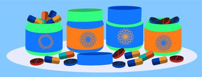 Different pharmacy purchases. Medical bottles blue and green color and pills and bottles. Vector concept health care objects stock illustration