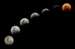 Different phases of a lunar eclipse Royalty Free Stock Images