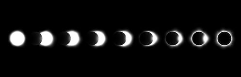 Different phases of solar and lunar eclipse . Vector Royalty Free Stock Photo