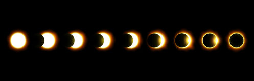 Different phases of solar and lunar eclipse . Vector.  Royalty Free Stock Photos