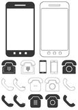 Different phone icons set Royalty Free Stock Photos