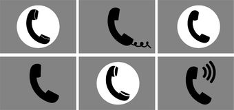Different phone icons set. Isolated, vector. Royalty Free Stock Image