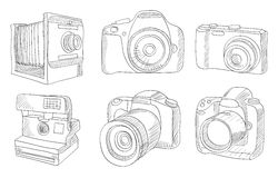 Different photo cameras set Stock Photography