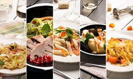 Different photos of Italian pasta Royalty Free Stock Photography
