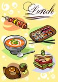 Different Pictures of food for lunch Royalty Free Stock Photo