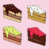 Different pieces of cake Royalty Free Stock Photos