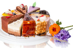 Different pieces of cake and flower Stock Image