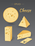 Different pieces of cheese Stock Photos