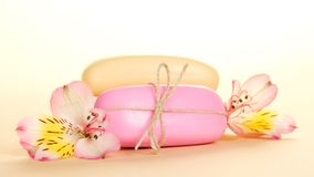 Different pieces of soap and  flower Royalty Free Stock Image