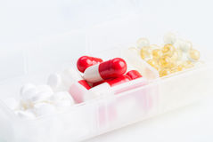 Different pills in the box Royalty Free Stock Photos