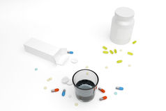Different pills and boxes Stock Photography