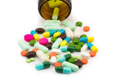 Different pills and capsule of medicine stock photography