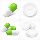 Different pills on white Royalty Free Stock Photography