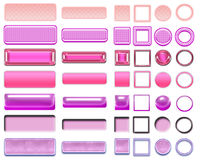 Different pink colors of buttons and Icons for web design Stock Photo
