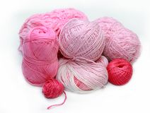 Different pink skeins for crochet. On white background Stock Photo