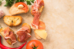 Different pintxos with meat and vegetables Stock Photos