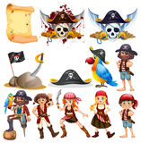 Different pirate characters and pirate symbols Royalty Free Stock Image
