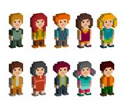 Different pixel 8-bit isometric characters. Men and women are standing on white background. Vector illustration Stock Image