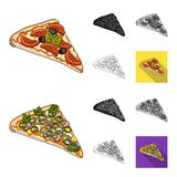 Different pizza cartoon,black,flat,monochrome,outline icons in set collection for design.Pizza food vector symbol stock. Illustration Stock Photo