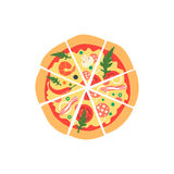 Different pizza slices. Top view Royalty Free Stock Images
