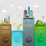 Different places to travel. Business infographic. Vector illustr Stock Images