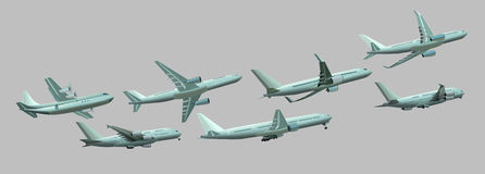 Different planes on a gray background. 