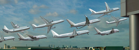 Different planes take off from the airport Stock Photography