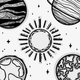 Different planets around the sun in the galaxy. Vector illustration Royalty Free Stock Photo