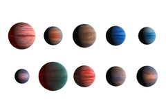 Different planets isolated on white background. Elements of this image furnished by NASA stock images
