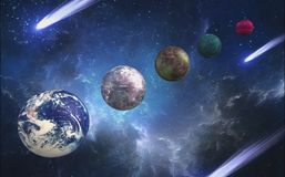Different planets in the universe in 3d format stock illustration