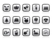 Different Plants and gardening Icons Stock Images