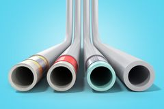 Different plastic water pipes in layers 3d render on blue. Different plastic water pipes in layers 3d render on royalty free illustration