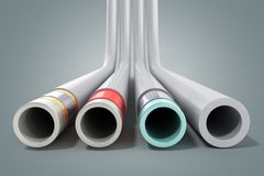 Different plastic water pipes in layers 3d render on grey. Different plastic water pipes in layers 3d render on vector illustration