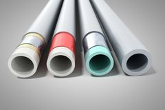 Different plastic water pipes in layers 3d render on grey. Different plastic water pipes in layers 3d render on royalty free illustration