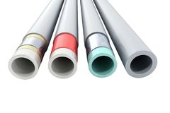 Different plastic water pipes in layers 3d render on white. Different plastic water pipes in layers 3d render on royalty free illustration