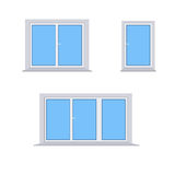 3 different plastic windows on a white background. Vector Royalty Free Stock Images