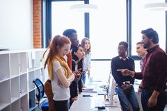 Different poins of view on problem. missunderstanding among office workers. Two different poins of view on problem. missunderstanding among office workers royalty free stock images